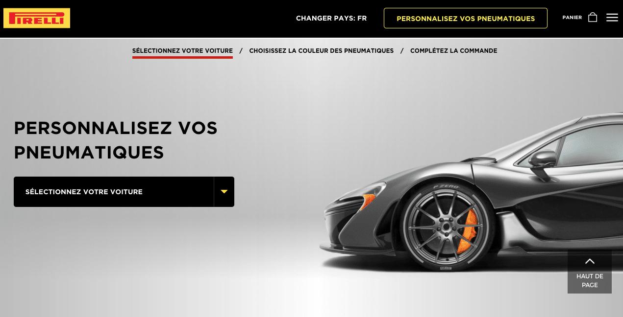 Capture d'écran du site Pirelli