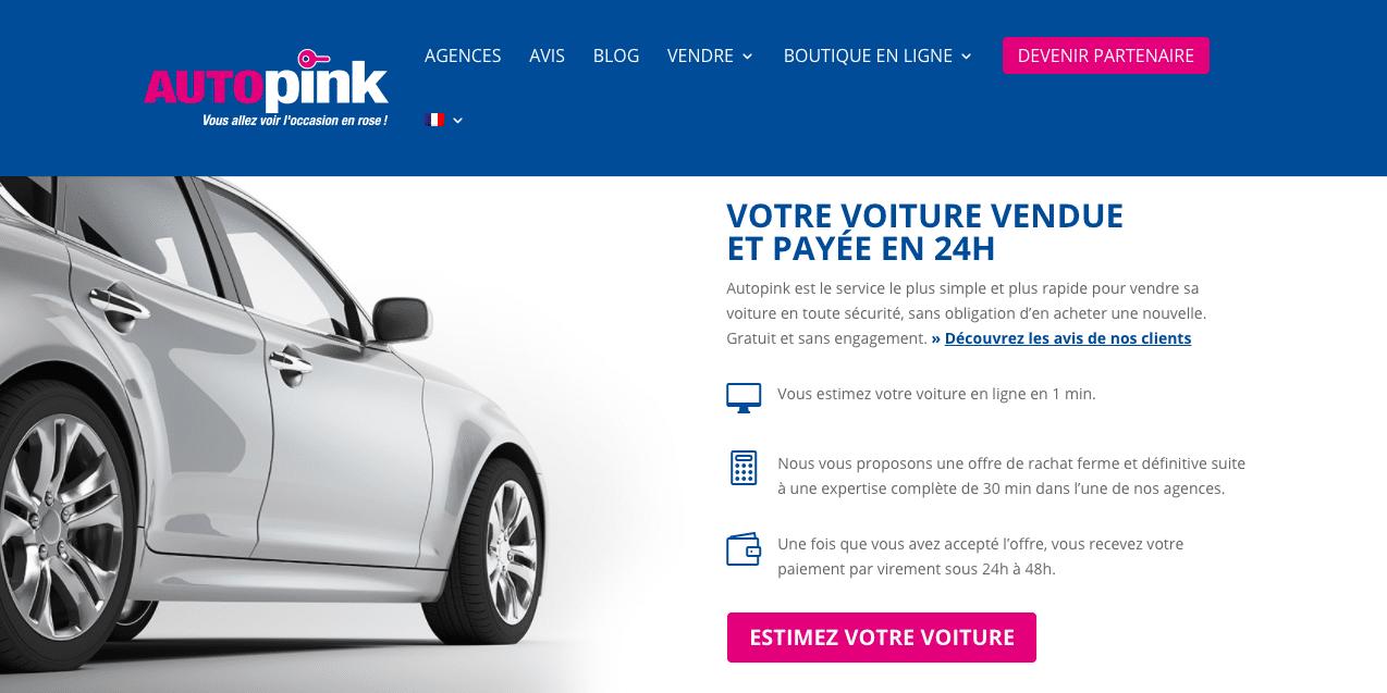 Capture ecran page accueil site Autopink