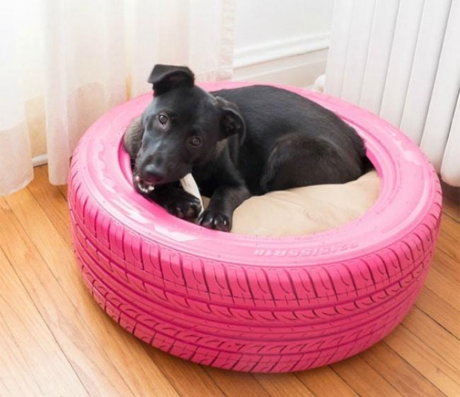 DIY : créer un panier pour chien grâce à un pneu usagé