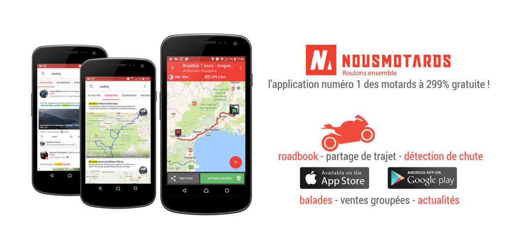 Application mobiles pour les moto et scooter nousmotards