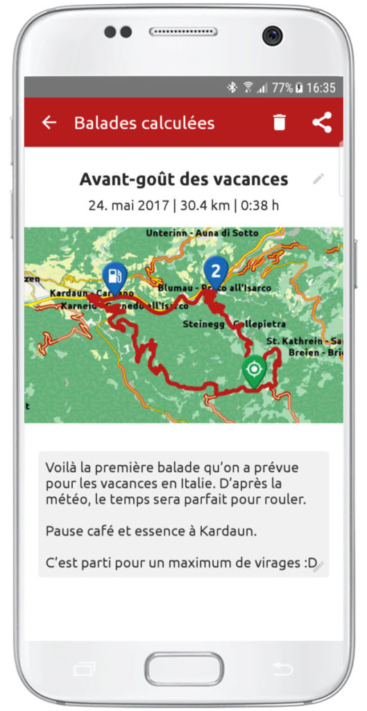 Screenshot de l'application Calimoto préparation d'une balade à moto